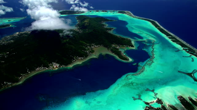 aerial of bora bora island paradise vacation resort - bora bora aerial stock videos and b-roll footage