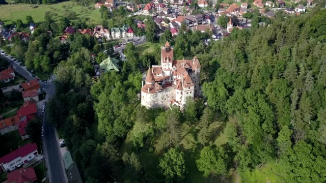 aerial of bran castle, transylvania, romania - bran castle stock videos & royalty-free footage