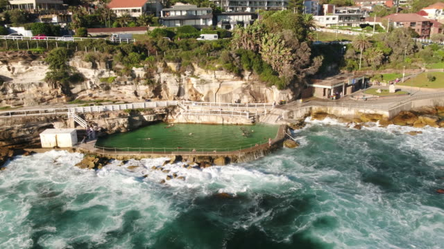 Aerial of Bronte pool, Bronte Beach, Sydney, New South Wales, Australia, Pacific