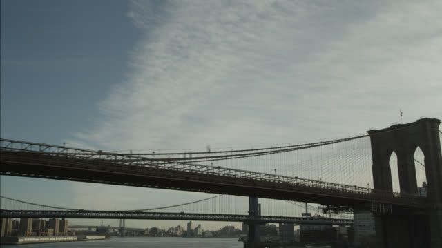 aerial OF BROOKLYN BRIDGE AND CITY SKYLINE.