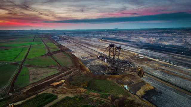 aerial of brown coal open pit mine - open cast mine stock videos & royalty-free footage