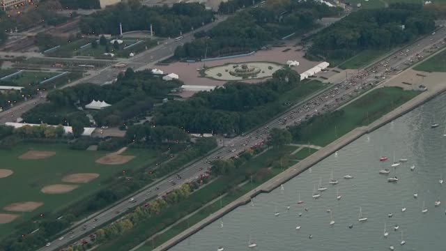 aerial of buckingham fountain on october 10 2013 in chicago illinois - buckingham fountain stock videos and b-roll footage