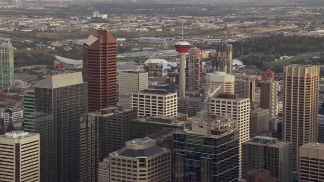 aerial of buildings in downtown calgary - calgary stock videos & royalty-free footage