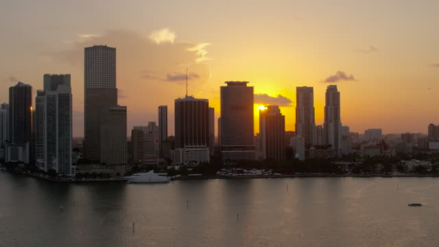 Aerial of buildings in downtown Miami at sunset FL