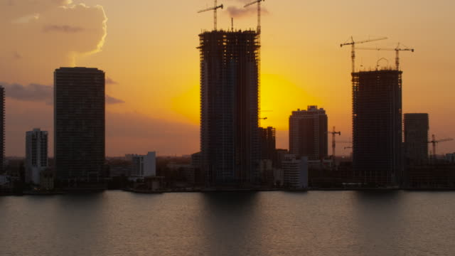 Aerial of buildings in downtown Miami at sunset Florida