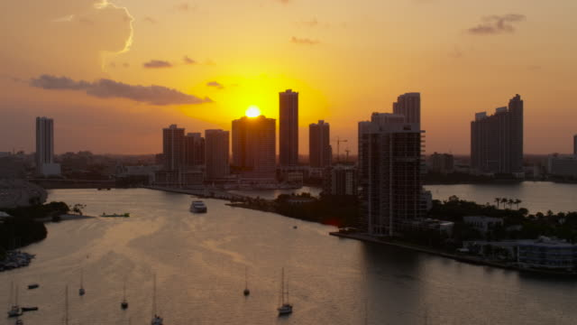 Aerial of buildings in downtown Miami at sunset