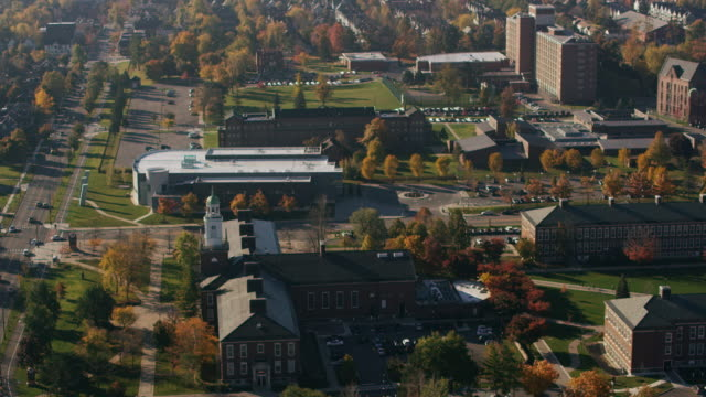 aerial of burchfield penney art center at buffalo state college daytime usa - buffalo new york state stock videos & royalty-free footage