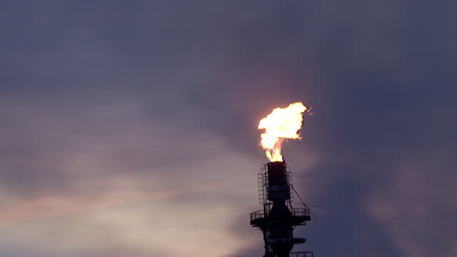Aerial of Burning gas