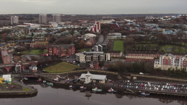 aerial of byker in newcastle upon tyne - newcastle upon tyne stock videos & royalty-free footage