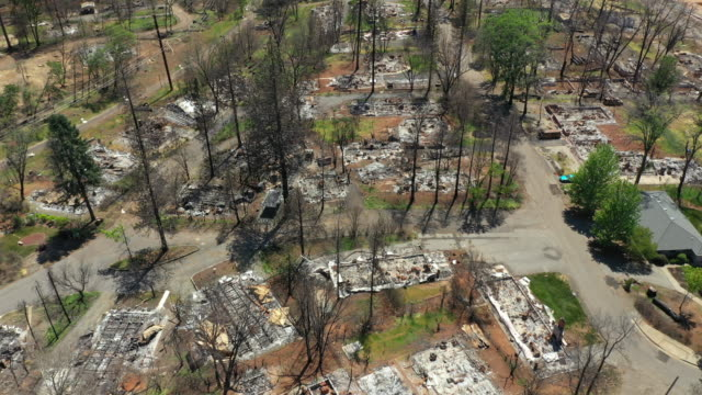 aerial of camp wildfire damage in paradise, california - california stock videos & royalty-free footage