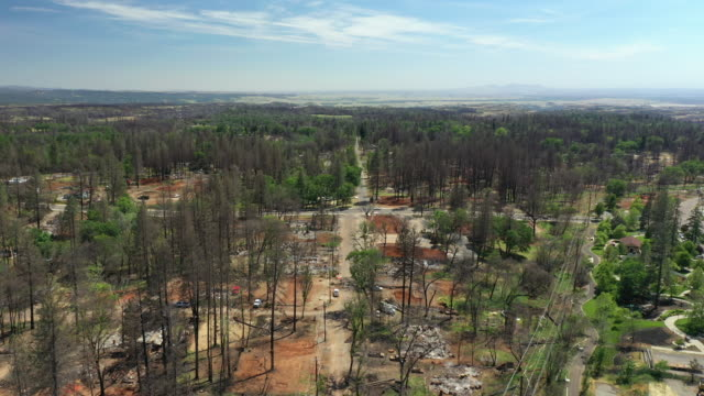 aerial of camp wildfire damage in paradise, california - natural disaster stock videos & royalty-free footage