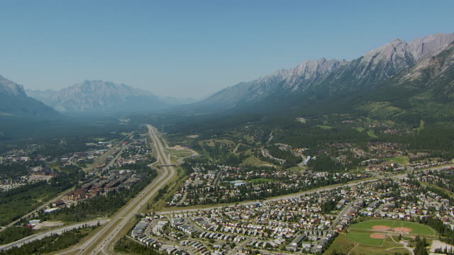 Aerial Of Canmore Alberta In Canadian Rockies