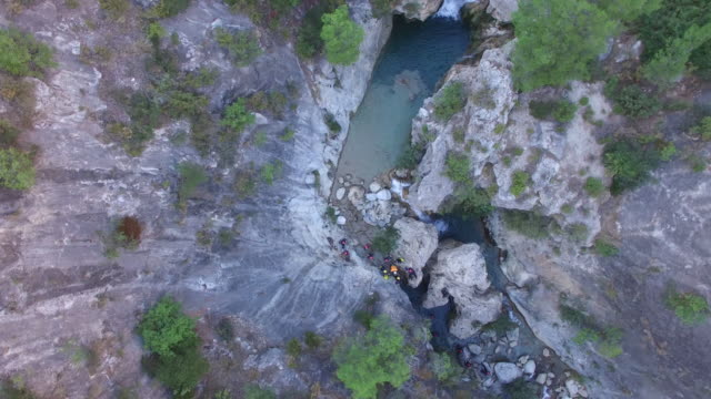 aerial of canyoning - canyon stock videos & royalty-free footage