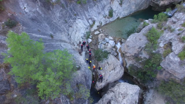 Aerial of canyoning
