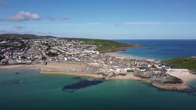 aerial of carbis bay, cornwall, where g7 summit is being held - idyllic stock videos & royalty-free footage
