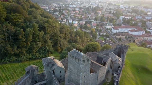 Aerial of Castle in Switzerland