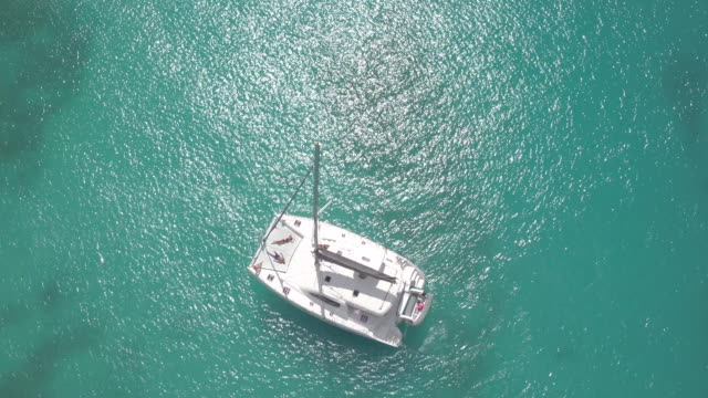 aerial of catamaran - karibik stock-videos und b-roll-filmmaterial