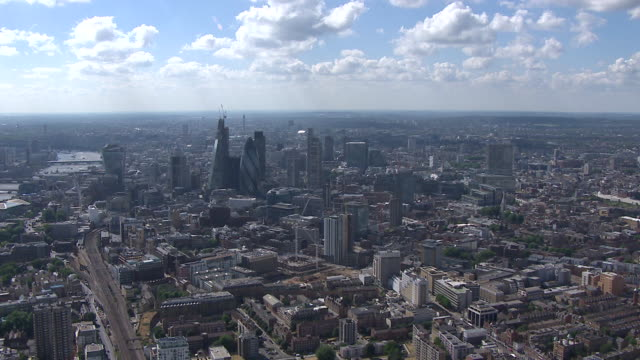 Aerial of central London focusing on the Gherkin