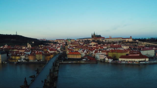 aerial of charles bridge in prague - charles bridge stock videos and b-roll footage