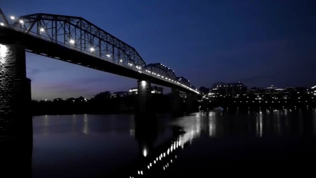 aerial of chattanooga river front at sunrise - chattanooga stock videos and b-roll footage