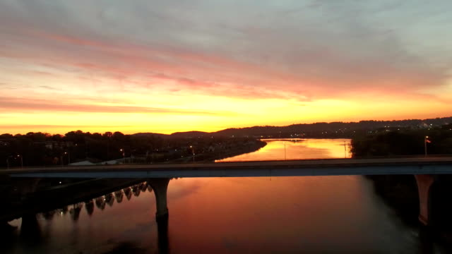 aerial of chattanooga river front at sunrise - tennessee stock videos & royalty-free footage