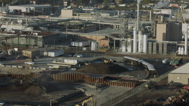 aerial of chemical plant in st louis - industrial district stock videos & royalty-free footage