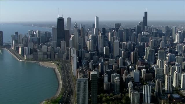 WGN Aerial of Chicago Skyline on Lakefront on a Sunny Spring Day on April 24 2017