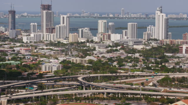 Aerial of circle interchange and Downtown Miami, FL