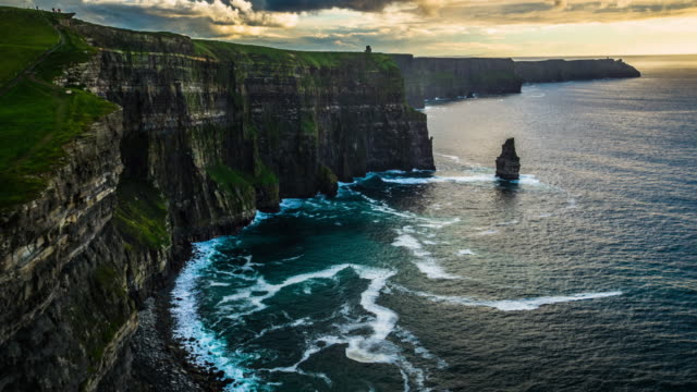 Aerial of Cliffs of Moher at Sunset, Ireland