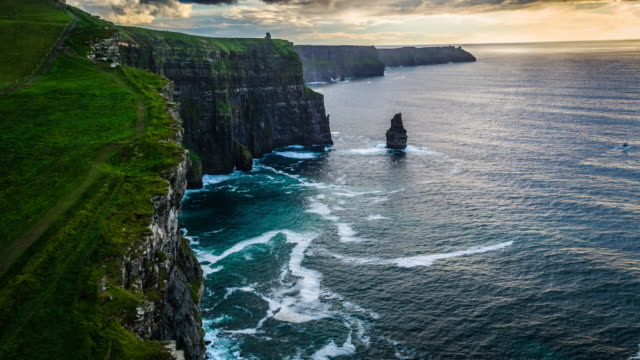 aerial of cliffs of moher in ireland - ireland stock videos & royalty-free footage