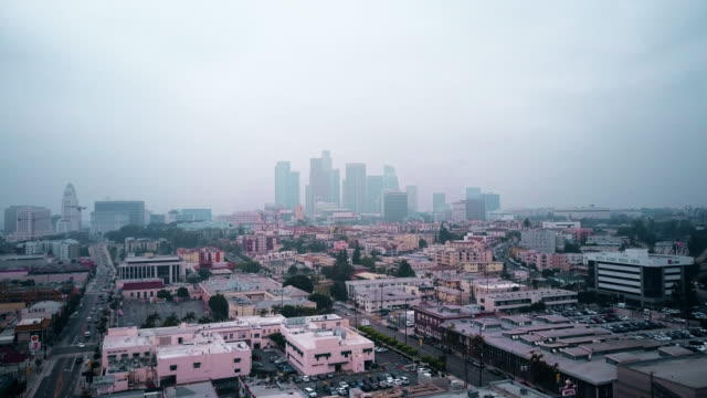 aerial of cloudy downtown los angeles - overcast stock videos and b-roll footage