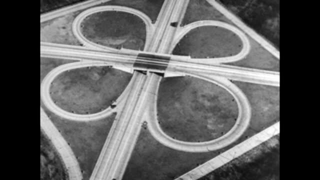 Aerial of cloverleaf interchange highway system 1935