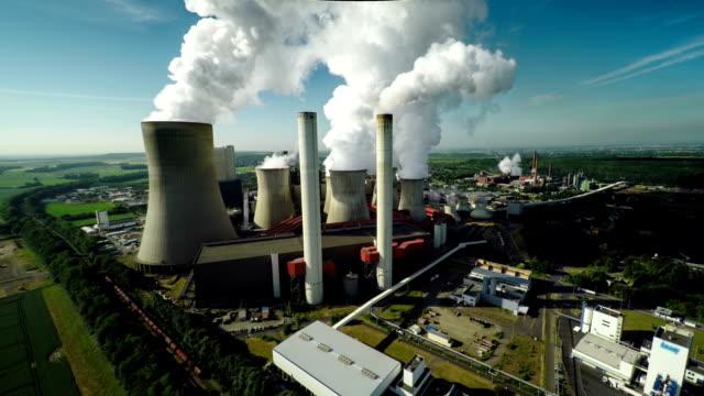 空から見た石炭発電所書き込み - ノルトラインヴェストファーレン州点の映像素材/bロール