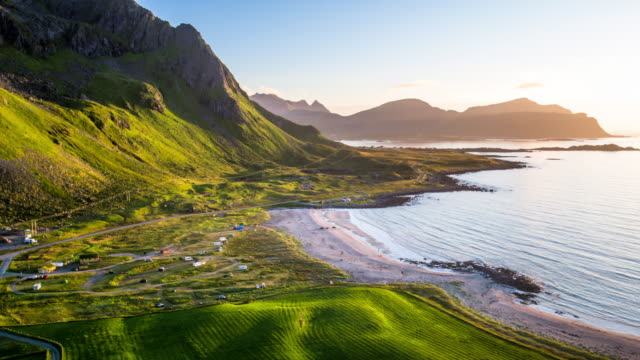 Aerial of coastline with beach at the Lofoten Islands, Norway