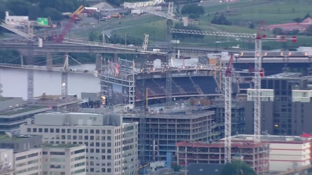 aerial of construction near the nationals park baseball stadium - nationals park stock videos & royalty-free footage