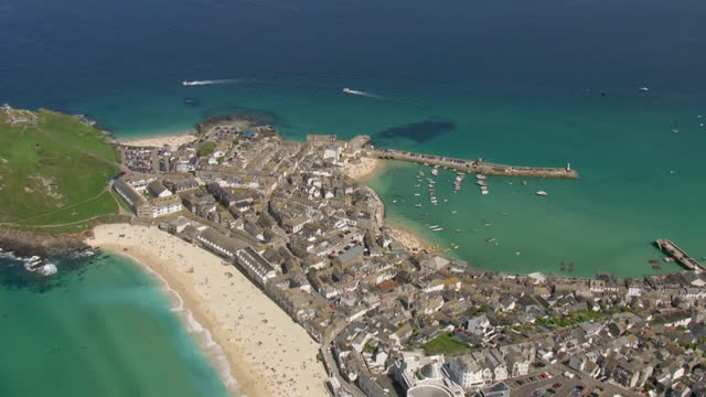 aerial of cornish coast near carbis bay - bay of water stock videos & royalty-free footage