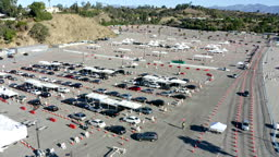 Aerial of Covid-19 Vaccine Distribution in Parking Lot