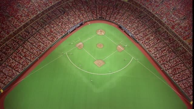 Aerial of crowd and field of Kauffman Stadium / Kansas City, Missouri
