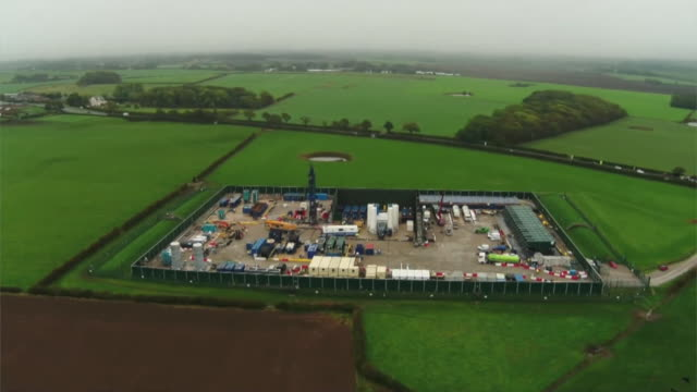 aerial of cuadrilla fracking site in lancashire - land stock videos & royalty-free footage