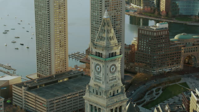 Aerial Of Custom House Tower In Boston
