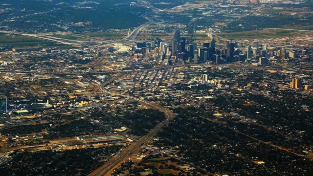 aerial of dallas & surrounding neighborhoods - dallas stock-videos und b-roll-filmmaterial