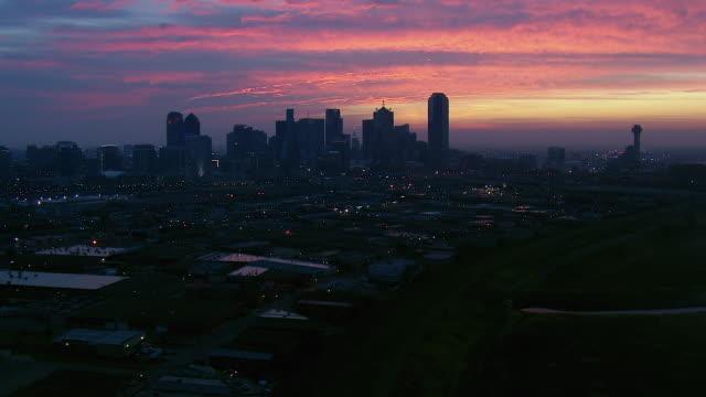 Aerial Of Dallas Texas Skyline At Dawn