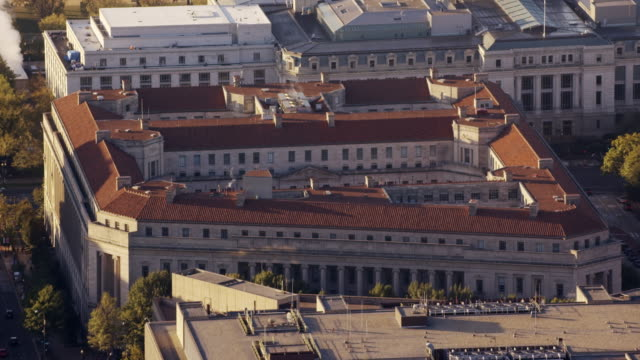 Aerial of Department of Justice in Washington DC, afternoon