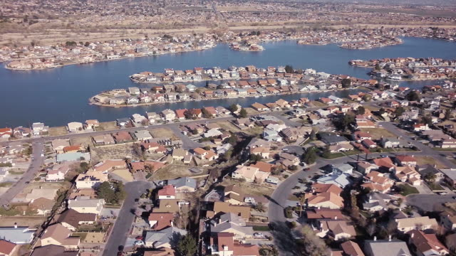 Aerial of desert lake community