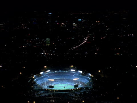 aerial of dodger stadium and downtown los angeles. - コート点の映像素材/bロール