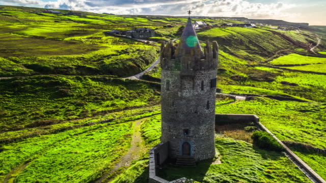 aerial of doonagore castle, co. clare, ireland - doolin stock videos & royalty-free footage