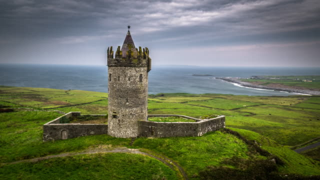 aerial of doonagore castle in ireland - doolin stock videos & royalty-free footage