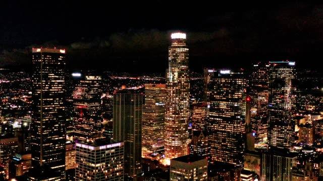 aerial of downtown los angeles california at night - los angeles stock videos & royalty-free footage