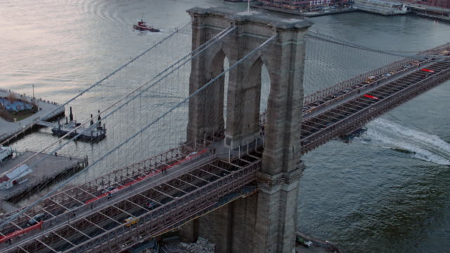 Aerial of downtown Manhattan and Brooklyn bridge at sunset