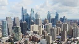 Aerial of Downtown of Philadelphia, daytime cityscape